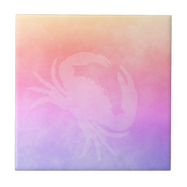 Beach Themed Ultra violet peach purple golden gradient crab tile