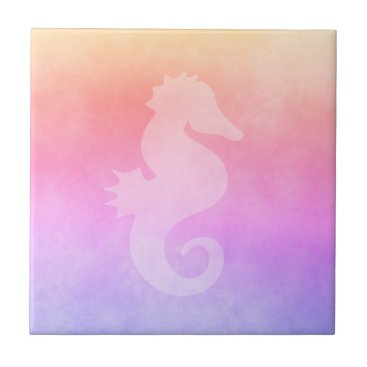Beach Themed Ultra violet peach purple golden gradient seahorse ceramic tile