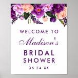 """Ultra Violet Purple Floral Bridal Shower Poster<br><div class=""""desc"""">Ultra Violet Purple Watercolor Floral Bridal Shower Welcome Poster</div>"""