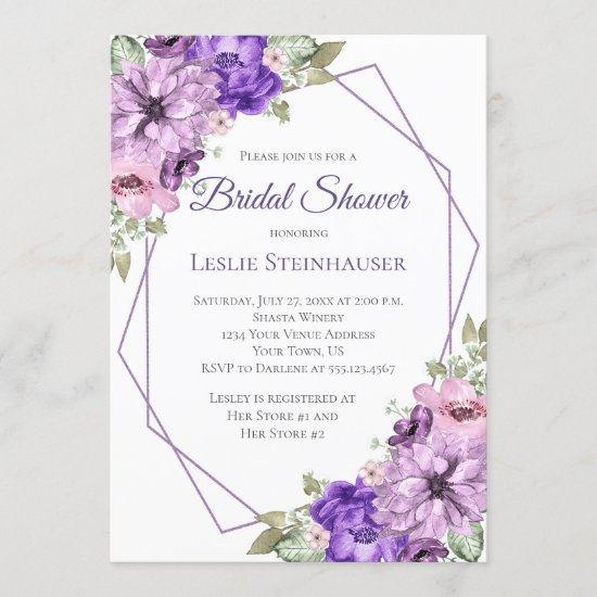 Ultra Violet Purple Floral Geometric Bridal Shower Invitation