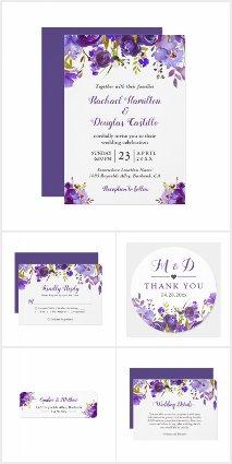 Ultra Violet Purple Floral Invitation Suite