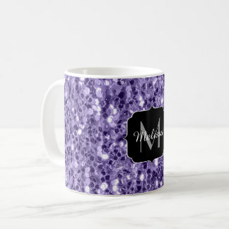 Ultra violet purple glitter sparkles Monogram Coffee Mug