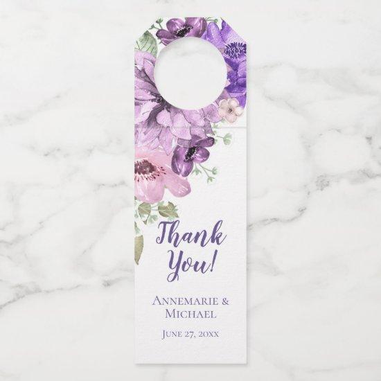 Ultra Violet Purple Pink Watercolor Floral Bottle Hanger Tag
