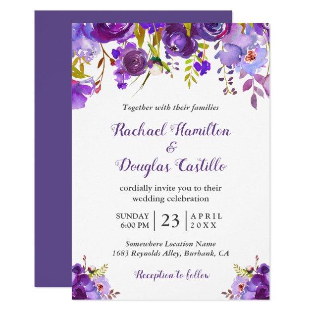 097ac1640b06 Ultra Violet Purple Watercolor Floral Wedding Invitation