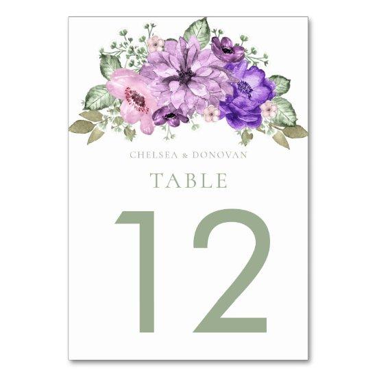 Ultra Violet Sage Green Floral Table Cards