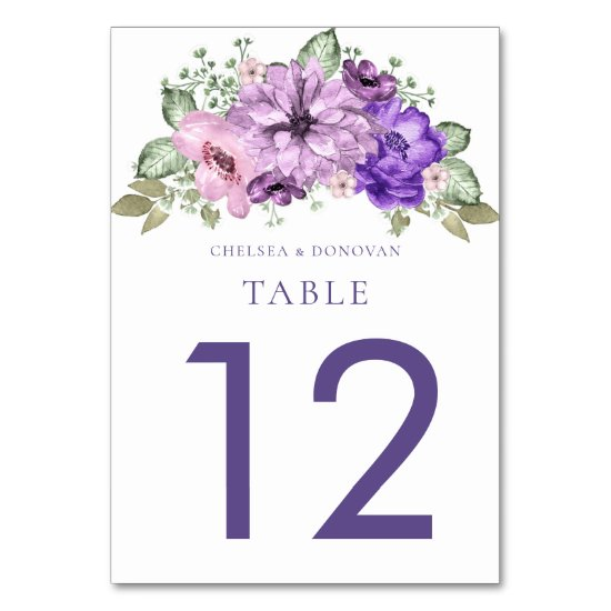 Ultra Violet Watercolor Floral Table Cards