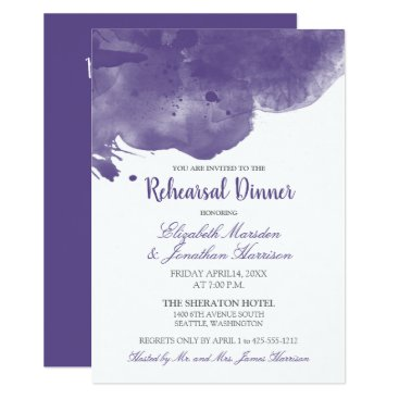 Wedding Themed Ultra Violet Watercolor Love Rehearsal Dinner Card