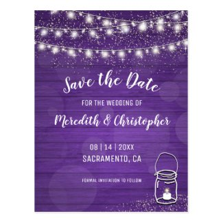 Ultra Violet Wood String Lights Mason Jar Wedding