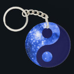 """Ultramarine and Navy Blue Stars Yin Yang Symbol Keychain<br><div class=""""desc"""">A digitally painted space image with yin yang symbol. The original is the giant star-forming nebula NGC 3603.</div>"""