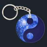 "Ultramarine and Navy Blue Stars Yin Yang Symbol Keychain<br><div class=""desc"">A digitally painted space image with yin yang symbol. The original is the giant star-forming nebula NGC 3603.</div>"