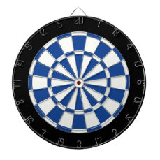 Ultramarine Blue Black And White Dartboard