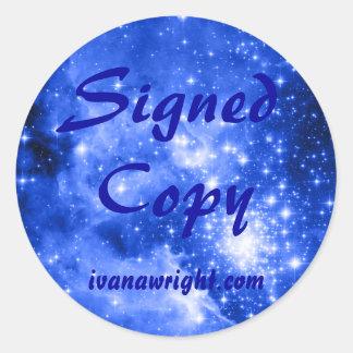 Ultramarine Blue Colored Stars Signed Copy Sticker