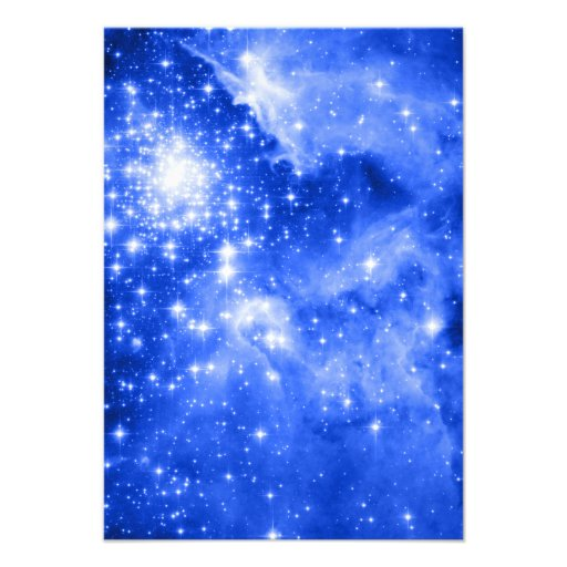 Ultramarine Blue Stars Custom Invitation