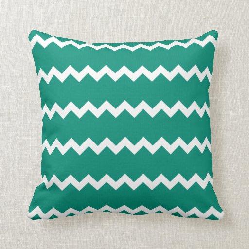 Ultramarine Green Chevron Pillow