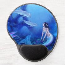 Ultramarine Mermaid and Dolphin Art Gel Mousepad