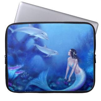 Ultramarine Mermaid and Dolphin Art Laptop Sleeve