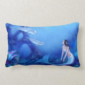ultramarine mermaid and dolphins blue u0026 purple lumbar pillow