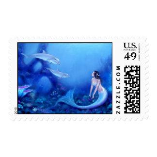 Ultramarine Mermaid Art Postage