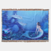 Ultramarine Mermaid & Baby Dolphins Throw Blanket