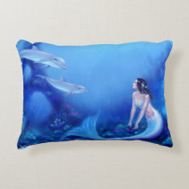 Ultramarine Mermaid &Dolphin Art Accent Pillow