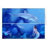 Ultramarine Mermaid & Dolphin Art Bookmark Card