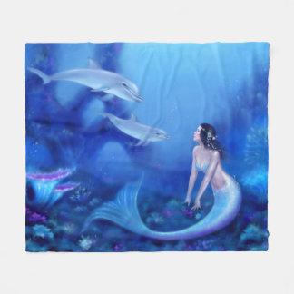 Ultramarine Mermaid & Dolphin Fleece Blanket