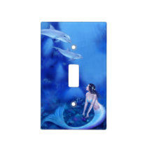 Ultramarine Mermaid & Dolphins Light Switch Cover