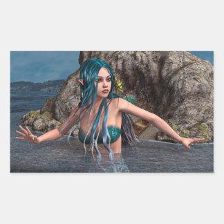 Ultramarine Mermaid Rectangular Sticker