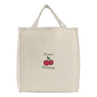 Ultramarinos dulce de la cereza de las cerezas de  bolsa de lienzo