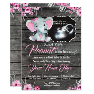 c9d9a7e6a Ultrasound Elephant Baby Shower Invitation, rustic Invitation