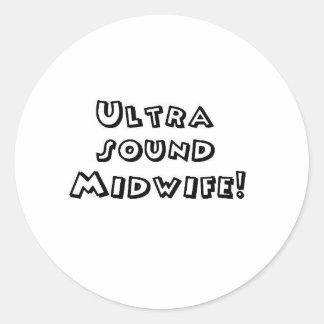 ultrasound midwife classic round sticker