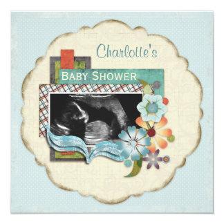 Ultrasound Photo Boy Baby Shower 5.25x5.25 Square Paper Invitation Card