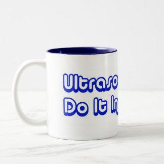 Ultrasound Techs Do It In The Dark Blue 3D Logo Two-Tone Coffee Mug