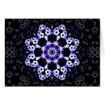 Ultraviolet Floral Kaleidoscope Mandala Greeting Card