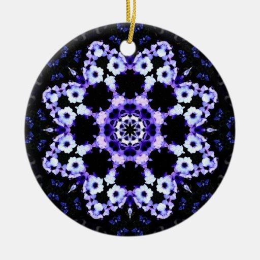 Ultraviolet Floral Kaleidoscope Mandala Double-Sided Ceramic Round Christmas Ornament