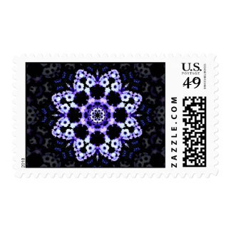 Ultraviolet Floral Kaleidoscope Mandala Postage