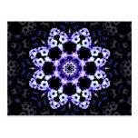 Ultraviolet Floral Kaleidoscope Mandala Postcard