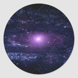 Ultraviolet Purple Andromeda Galaxy Space Classic Round Sticker