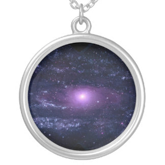 Ultraviolet Purple Andromeda Galaxy Space Silver Plated Necklace