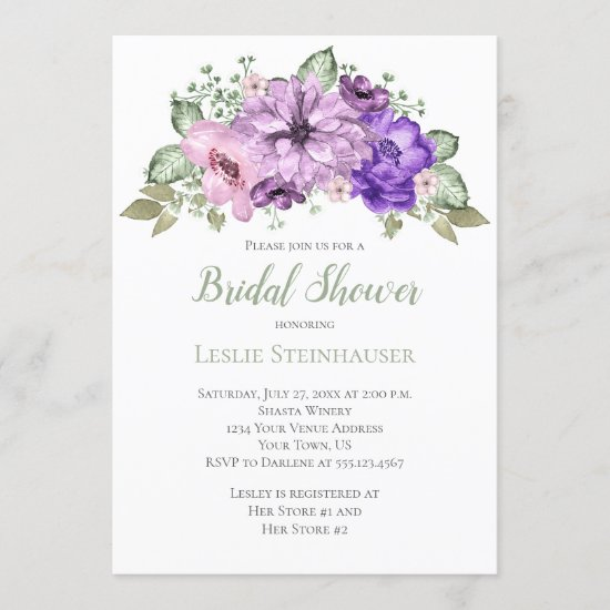 UltraViolet Purple Sage Green Floral Bridal Shower Invitation