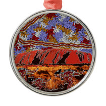 Uluru - Authentic Aboriginal Art Metal Ornament