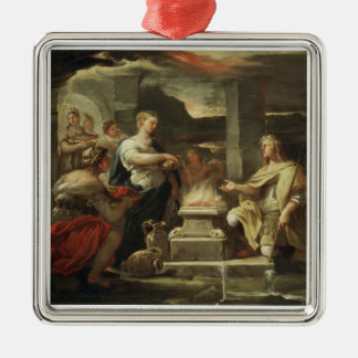 Ulysses and Calypso Square Metal Christmas Ornament