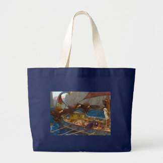 Ulysses and the Sirens by John William Waterhouse Large Tote Bag