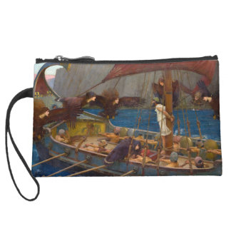 Ulysses and the Sirens by John William Waterhouse Suede Wristlet Wallet