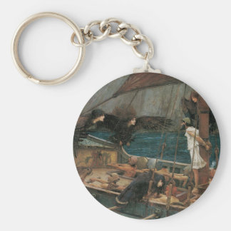 Ulysses and the Sirens by JW Waterhouse Basic Round Button Keychain