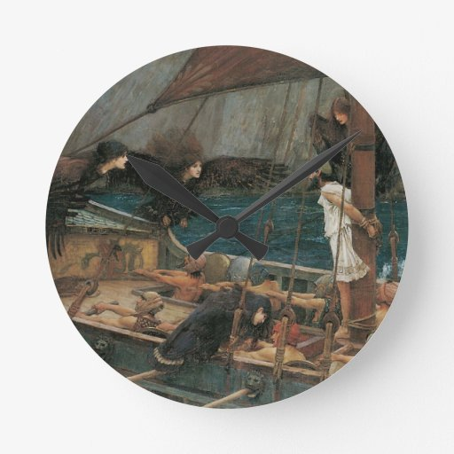 Ulysses and the Sirens by JW Waterhouse Round Wallclocks