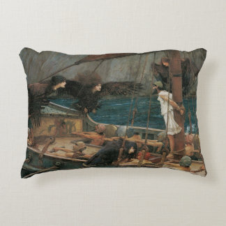 Ulysses and the Sirens by JW Waterhouse Decorative Pillow