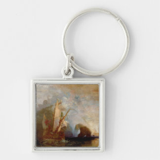 Ulysses Deriding Polyphemus, 1829 Silver-Colored Square Keychain