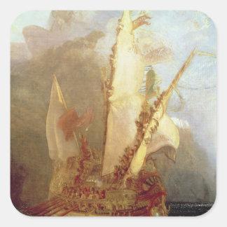 Ulysses Deriding Polyphemus, detail of ship Square Sticker
