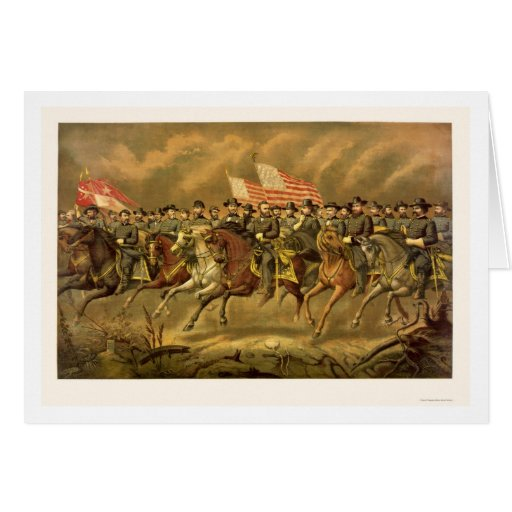 Ulysses S. Grant and His Generals by E. Boell 1865 Greeting Card